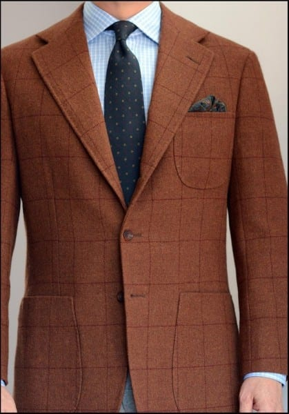 Bespoke suit jacket London Lounge Brown Shetland 9