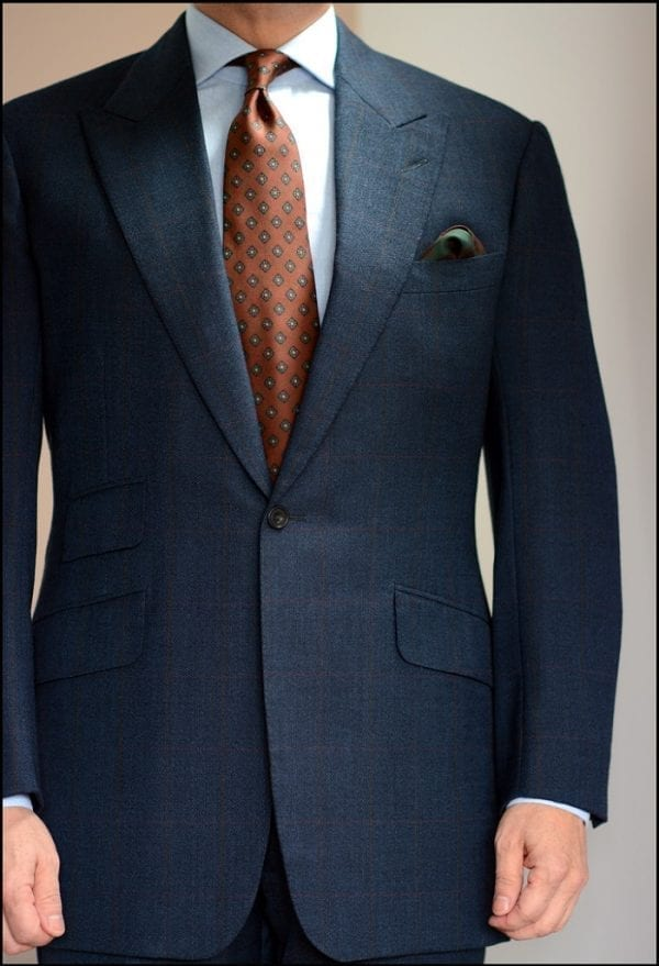Faux tweed bespoke navy suit by Steed