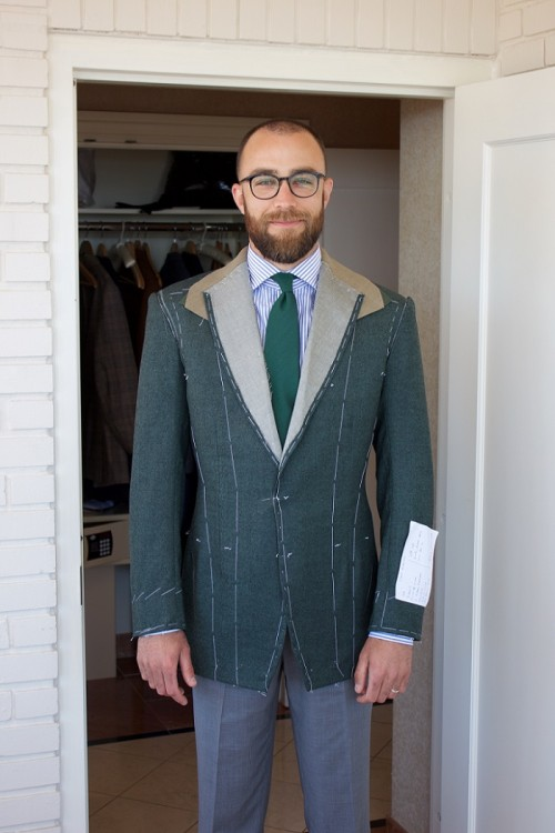 Final fitting of a bespoke suit