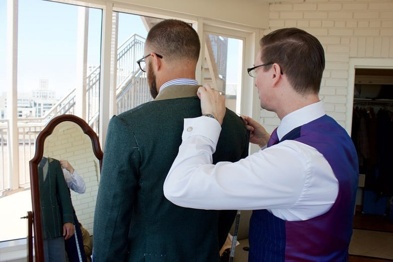 Fitting bespoke suit in Chicago with Edwin DeBoise, Bespoke Tailor