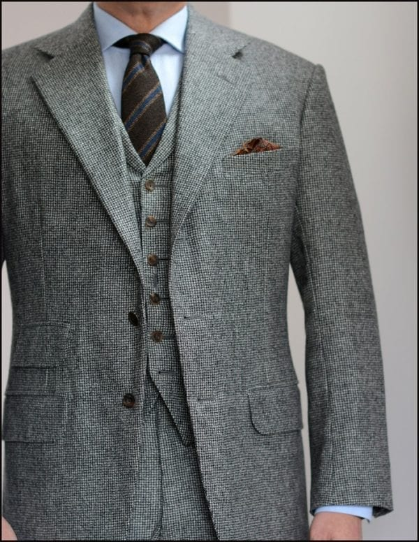 Grey houndstooth flannel vest three piece bespoke suit