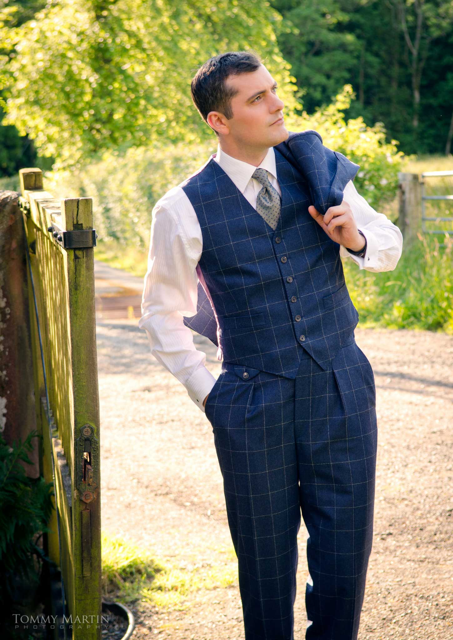 Made to measure 3 piece suit in navy large check