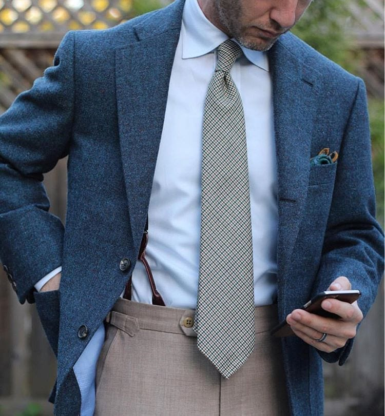 wool bespoke sports coat blue